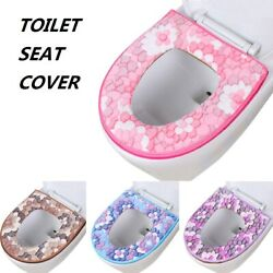 Washable Flowers Toilet Seat Cover Pads Thick Warmer Cushion Cloth Universal Mat