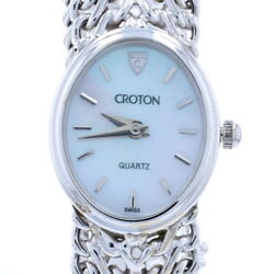 Croton Ladies Watch - 14k White Gold Quartz Mother Of Pearl 1-year Warranty