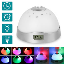 Digital Projection Alarm Clock LCD Display 7 Color Change LED Projector Snooze