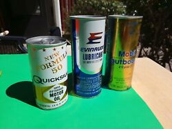 3 Vintage Outboard Oil Cans Mobil Evinrude And Quicksilver