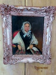 Antique Framed Oil Painting Of Russian Woman Signed And Dated 1847