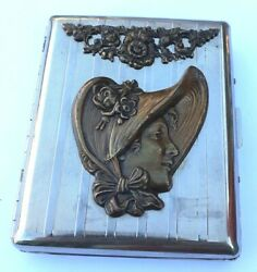 Silver Tone Cigarette Holder With Lady's Head And Floral Design