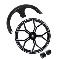 26and039and039 Front Wheel Rim Hub Dual Disc Front Fender Fit For Harley Road Glide 08-21