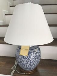 Porcelain Blue Floral Table Lamp 22 In. Tall New