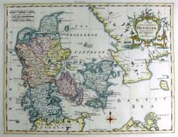 Denmark By Thomas Kitchin C1762 Genuine Antique Copperplate Engraved Map