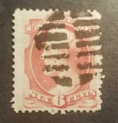 Fancy Cancel - Us Scott 148 6c Abraham Lincoln Stamp Used T8222