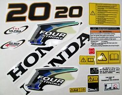 Decal Set Kit Honda Bf 20 Outboard For 63100-zy1-010za Stickers Reproductions
