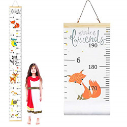 Fox Growth Chart for KidsChildren Height Ruler Wall DecorationsRemovable for