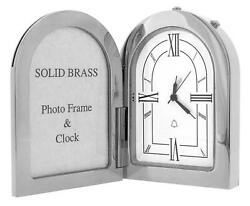 Gtp Miniature Unisex Arch Photo Frame Chrome Plated On Solid Brass Alarm Clock