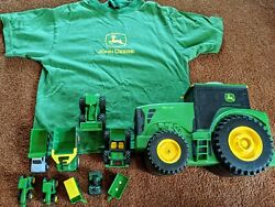 John Deere Lot Of Small Farm Construction Toys, Vehicle Holder And T Shirt Top