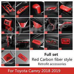 Red Carbon Fiber Style Car Interior Kit Cover Trim For Toyota Camry 2018 2019
