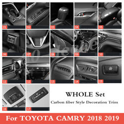 Carbon Fiber Style Car Interior Kit Cover Trim Fit For Toyota Camry 2018 2019