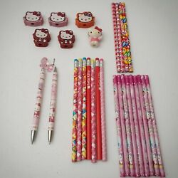 Hello Kitty Sanrio Pencils And Erasers Lot Of 28, 2 Mechanical With Charm 2011-13