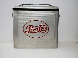 Pepsi Vintage 1950and039s Metal Aluminum Cooler Ice Chest Retro Silver Very Rare