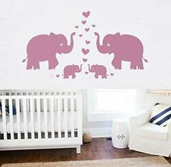 Large Cute Elephant Family With Hearts Wall Decals Baby Nursery Decor Kids