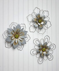Rustic Wire Metal Hanging Wall Flowers Floral Indoor Accents Set of 3