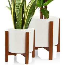 Set 2 Mid Century 10 And 8 Inch Modern Ceramic Planters With Wood Stand Large W