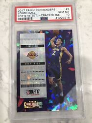 2017 Panini Contenders Lonzo Ball Lottery Ticket-cracked Ice 14/25 Psa 10 Rc