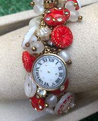 Old Rhinestone Studded Red And Milk Glass Buttons Bracelet Clock Buttons Too