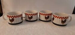Majesticware By Oneida Coffee Cup Mug Calico Rooster 2000 Laslie Beck Set Of 4