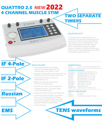 2021 Richmar Quattro 2.5 4 Channel Electrotherapy - Tens/ems/if/russian Dq8450