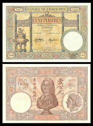 French Indo-china 100 Piastres P-51d 1936 - 1939 Xf+