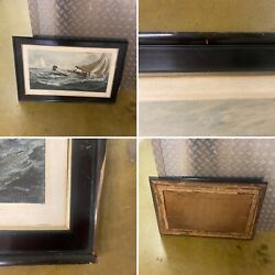 Antique Large Wooden Picture Frame Gold Tone Inlay Charles Napier Hemy Damaged