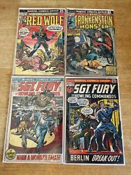 Sgt. Fury 100 103 Red Wolf 5 Frankenstein 9 Silver Mid Grade Marvel Comic Lot