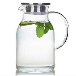 68 Ounces Glass Pitcher With Lid Heat-resistant Water Jug For Hot/cold Water
