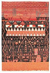 Hand-knotted Pak Finest Marrakesh Black Red Wool Rug 9and0399 X 14and0394