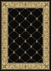 10x14 Black Bordered Swirls Diamonds Area Rug Sns4883 - Aprx 10and039 6 X 14and039 6