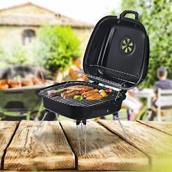 New Black Portable Charcoal Bbq Steel Iron Grill W/ Grid Outdoor Garden Barbeque