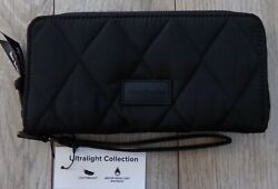 NWT NEW VERA BRADLEY RFID ULTRALIGHT BLACK ACCORDION NYLON WRISTLET WALLET $85 $21.99
