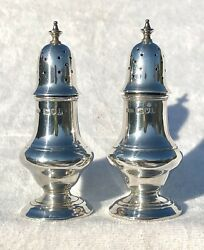 Antique Edwardian Hm 1904 Baluster Form Silver Pepperettes By Stokes And Ireland