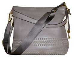 FOSSIL Gray Leather MAYA 11 x 12 Satchel Crossbody Shoulder Bag ZB7191 $49.99