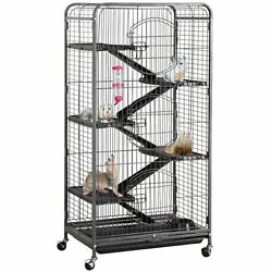 Large 6 Level Rolling Pet Cage With 3 Doors, Pet Bowl, And Water Bottle For Smal