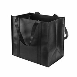 Reusable Grocery Tote Bags Black Heavy Duty Shopping Totes With Handle 6 Pack $24.44