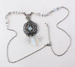 Pentagram Necklace Witch Salem Magic Spell Pagan Gothic Beaded Silver Jewelry