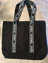 NEW MICHAEL KORS BLACK CANVAS TOTE SHOPPER W WHITE LETTERS $29.95