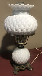 Vintage Brass Base Table Lamp Diamond Quilted Milk Glass Shade Gwtw Hurricane