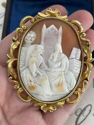 Antique 19th Brooch Victorian Carved Shell Cameo Medieval King And Queen W Book