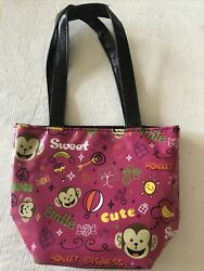 Monkey Business Small Pink Bag With words Cute Sweet Smile Peace $10.00