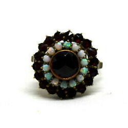 Antique Bohemian 10k Gold, Natural Opal And Garnet Ring Size 7.5