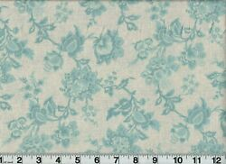 Vintage Fabric #1444B2 Dusty Blue Flowers OOP Quilt Shop Quality Cotton