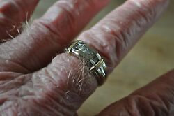 14 K Yellow And White 2 Tone Diamond Gold Custom Heavy Mans Ring S-12.5 High End