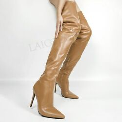 Women Thigh High Boots Stiletto Heels Over Knee Faux Leather Shoes Large Size