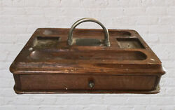 Antique 1892 Wooden Writing Inkwell Pen Box Morrisania Lodge 171 Ioof