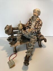 Large Capodimonte Hobo on Bench with Hat and Wine Bottle12quot; Signed M Lorey $129.95