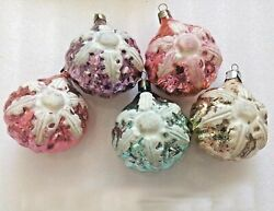 5 Old Vintage Russian Ussr Glass Christmas Ornaments Tree Decorations Snowflakes