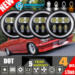 4x 5-3/4 5.75 Led Headlight Amber Angle Eyes Fit For Chevy Bel Air Corvette